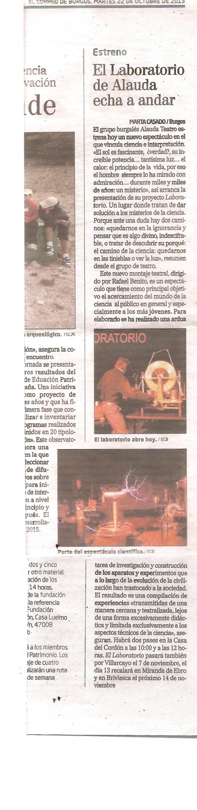 Laboratorio Correo de Burgos 22 de octubre 2013